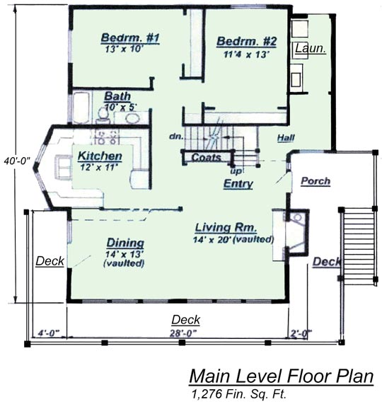 Image of the model C-511 upper level floor plan. A Creative House Plans mini chalet model with tuck-under garage.