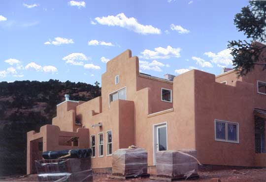 Exterior after application of stucco.