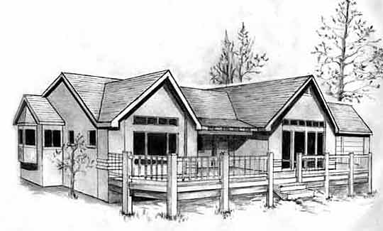 House Plan Rendering of L-701 Stucco Style Ranch Home