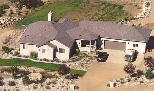 Aerial view of the CreativeHousePlans.com Model R-401 Ranch Home newly buiilt in Erie, Colorado