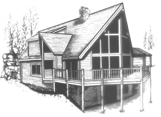 Image of the model C-510, our smallest chalet house plan design.